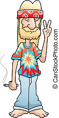 Hippie Peace Sign - A cartoon hippie making the peace sign...
