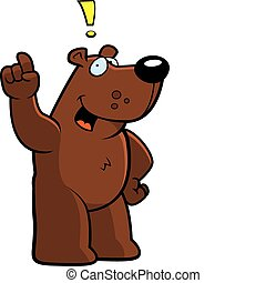 Bear Idea - A happy cartoon bear with and idea