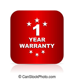 warranty guarantee 1 year red square modern design icon