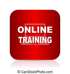 online training red square modern design icon