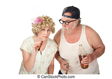 Strange Folk - Suspicious couple with cigars and a 40 oz...