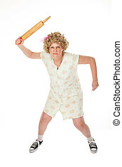 Rolling Pin Punishment - Angry housewife with rolling pin on...