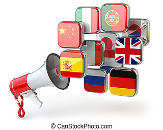 E-learning or online translator concept. Learning languages online. Megaphone and flags.