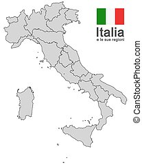 Italy and regions - silhouettes of european country Italy...