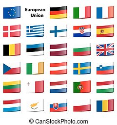 collection flags European Union - collection of loop ribbon...