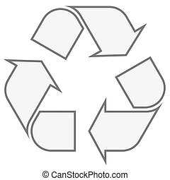 Recycling sign gray - gray economic recycle sign on white...