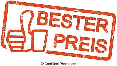 red stamp BESTER PREIS - red grunge stamp with frame, thumbs...