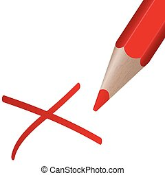 red pen with cross - red pen drawing an red cross for...