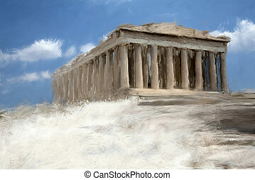 Parthenon - Painting style illustration of Athens Parthenon...