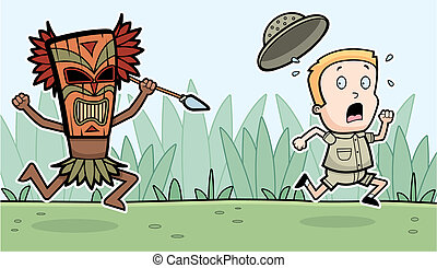 Explorer Chased - A cartoon explorer being chased by a witch...