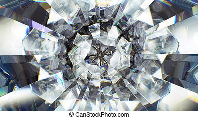 sparkling diamond macro rotating seamless loop. kaleidoscope