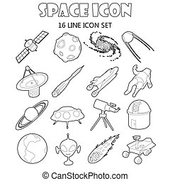 Space icons set in outline style Space and astronomy...