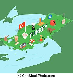 Turkey map, isometric 3d style