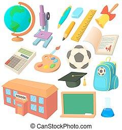 School icons set in cartoon style