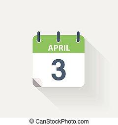 3 april calendar icon