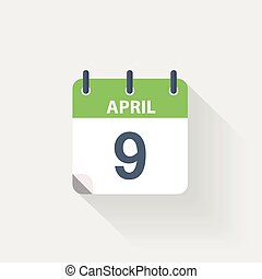 9 april calendar icon on grey background