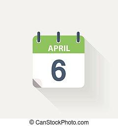 6 april calendar icon