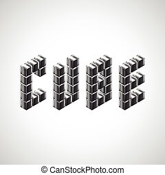 Cube word from 3d metal cubes
