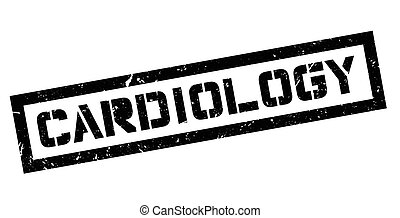Cardiology rubber stamp on white Print, impress, overprint