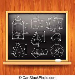 Geometric figures on black school board