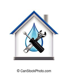 House and plumbing service tools icon isolated on white...
