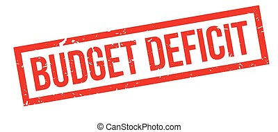 Budget Deficit rubber stamp on white. Print, impress,...