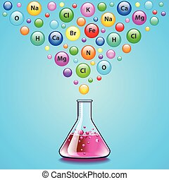 Laboratory flask and many bubbles with chemical elements...