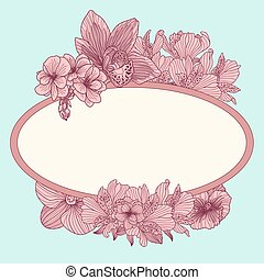 Frame with vintage flowers on teal background