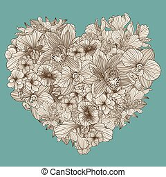 Flowers composition in a shape of heart