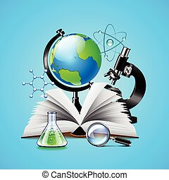 Science tools composition on blue background