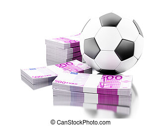 3d Soccer ball with money. Betting concept.