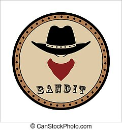 Emblem sheriff head - Vector round emblem sheriff head in...