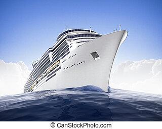 Crusing the world - Luxury cruiseship sailing the waters...