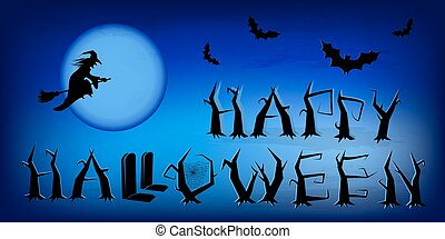 Vector blue halloween poster with moon background.