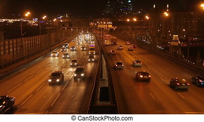 Night road timelapse - A night timelapse top view of a...