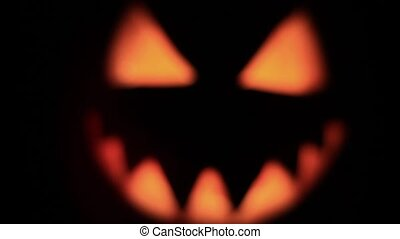 scary pumpkin faces smiling in the dark,holiday, October 31,...