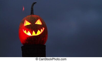 scary face of halloween pumpkin,holiday, October 31,...