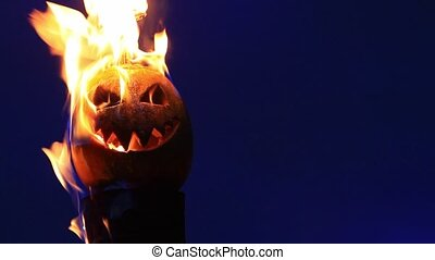 scary pumpkin faces lit bright fire,holiday, October 31,...