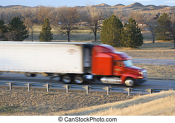 Blurred semi-truck