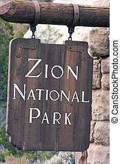 Zion National Park sign - Utah.