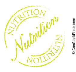 Nutrition rubber stamp, distorted sign Used, vintage look...