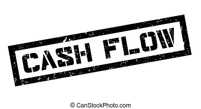 Cash Flow rubber stamp on white. Print, impress, overprint.