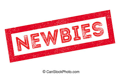 Newbies rubber stamp on white. Print, impress, overprint.