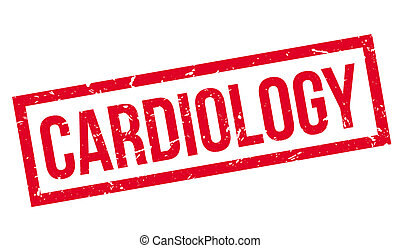 Cardiology rubber stamp on white. Print, impress, overprint.