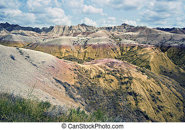 Badlands National Park. - Colorfula hills in Badlands...