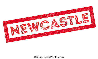 Newcastle rubber stamp on white. Print, impress, overprint.
