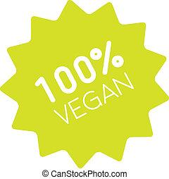 100% vegan badge simple - One hundred percent vegan label....