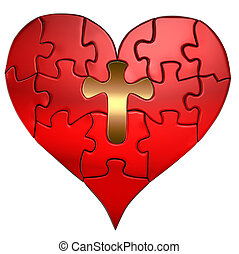 Heart and Cross Puzzle Orthographic - Puzzle of a Valentine...