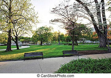 Benches near the path in the National Mall park - Path in...