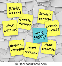Passwords Written on Sticky Notes - Many sticky notes with...